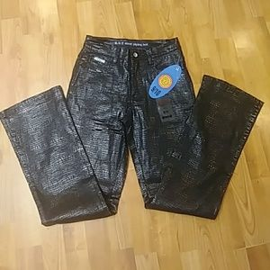 PANTS Sz 3 To 12 Black pleather Sexy Jean Shiny